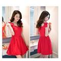 Đầm xòe đính nơ vai đỏ- bi  xinh xắn