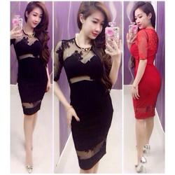 Đầm ôm body phối ren lưới giống Ngoc Lang Phuong - D808