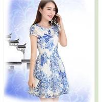 Đầm xòe dự tiệc hoa xanh nổi BD100-HÀNG NHẬP HÀN QUỐC CAO CẤP