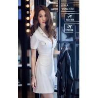 Đầm Body Ngọc Trinh Cổ Vest Dây Kéo Đồng