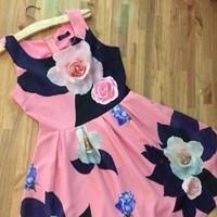 Đầm xòe sát nách họa tiết hoa hồng xinh đẹp vải in cao cấp DXV68