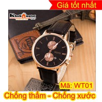 Đồng hồ nam dây da cao cấp chống nước tốt WT01B