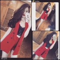 HANGT NHẬP CAO CẤP - Set áo vest from dài đính nút + quần short