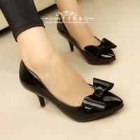 Giày cao gót nơ bóng phong cách Hàn Quốc