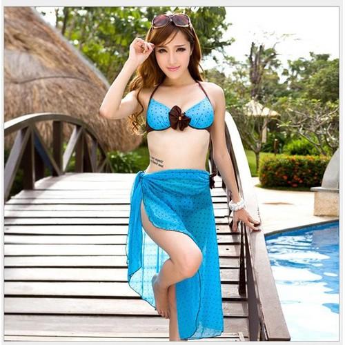 Set Bikini 2 mảnh kèm khăn Hàn Quốc BH812