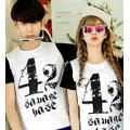 Aó thun đôi màu trắng logo chữ phong cách Hàn Quốc giá rẻ nhất