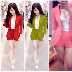 S123 : Set nguyên bộ quần short áo vest tay dài kèm áo thun