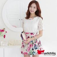 MTL - Áo voan phối tay ren nổi Cherry