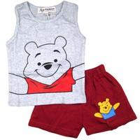 Bộ gấu Pooh quần thun xám BH298