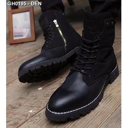 Giày da nam cổ cao dây kéo Mã: GH0195 - ĐEN