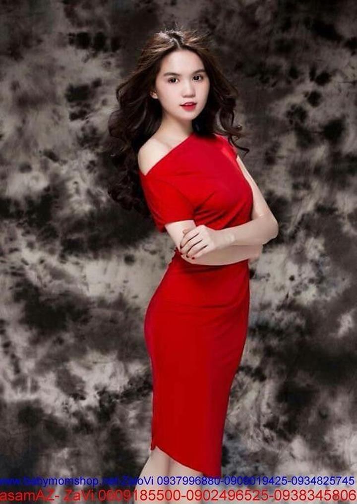Đầm ôm body lệch vai đơn giản sành điệu như Ngọc Trinh DOV152 2