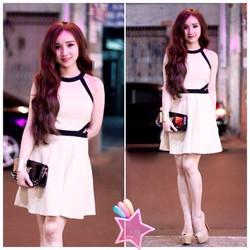 Đầm yếm viền đen khoét eo H2