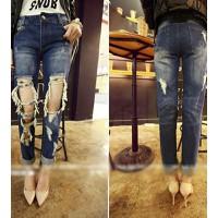 Quần jeans dài rách vuông Mã: QD649