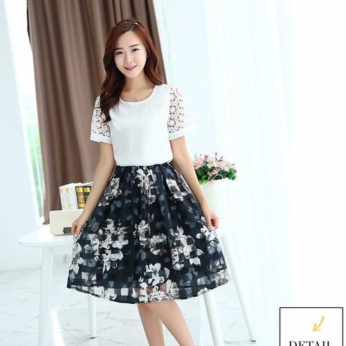 Set áo và chân váy xòe Hàn Quốc YW489