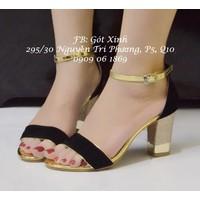 Sandal gót kim tuyến vuông quai ngang viền vàng-GX220
