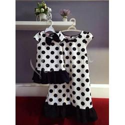 Set Đầm suông chấm bi cho mẹ và bé HGS60
