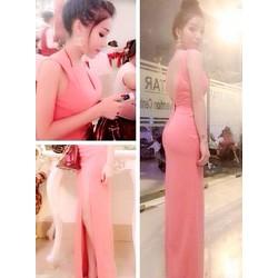 Đầm dạ hội hở lưng V váy xẻ quyến rũ hồng nổi bật - D1095