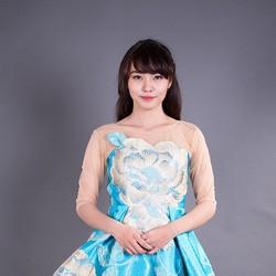 Đầm xòe xanh họa tiết nổi bật