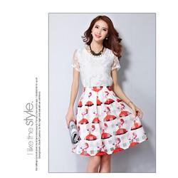 Hàng nhập cao cấp: Set áo bướm nổi + chân váy cô gái - DV2443