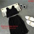 BG866 - Bộ váy và áo crop top Hàn Quốc