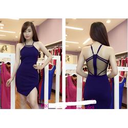Đầm body thiết kế yêm đính hạt cổ cao cấp nhiều màu-Hình shop