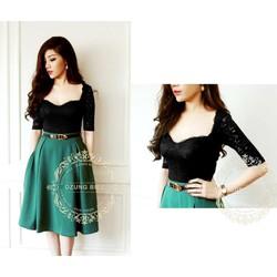 Đầm ren xòe phối váy xanh dzung biez - D353