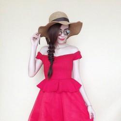 Đầm xòe bẹt vai peplum, hàng thiết kế cao cấp, fom chuẩn tôn dáng