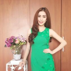 Đầm suông đính hoa dễ thương, hàng thiết kế cao cấp