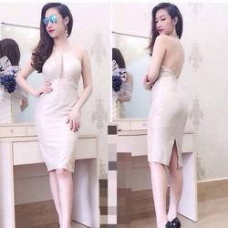 Đầm ôm cổ yếm, hàng thiết kế cao cấp, fom chuẩn tôn dáng