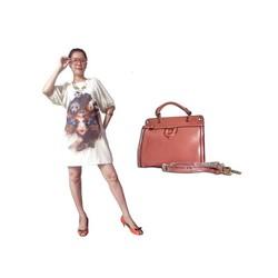 Bộ đầm thời trang và túi xách