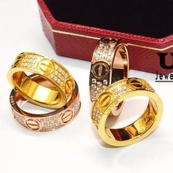 Nhẫn Titan CARTIER 3 hàng xoàn vàng,vàng hồng - Trang sức Titan