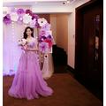 Đầm cưới công chúa màu tím hồng cao cấp
