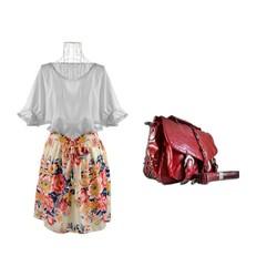 Bộ đầm hoa túi xách cá tính thời trang