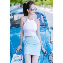 Set Bộ áo trắng chân váy xanh Ngọc Trinh S062