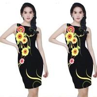 Đầm ôm body in hoa 3D dự tiệc BD119-HÀNG LOẠI 1 Y HÌNH