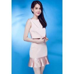 Set Bộ áo váy hồng xoè đuôi cá Ngọc Trinh S065