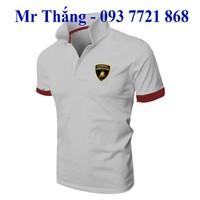 Áo thun nam cao cấp Lamborgini dạ quang cổ bẻ logo đen vàng