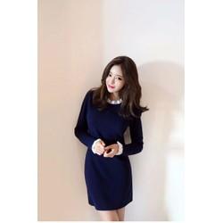 Đầm suông Korea style tay và cổ bèo trắng
