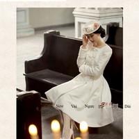 Áo dạ trắng dài tay