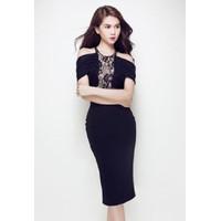 Đầm đen phối ren Ngọc Trinh D245