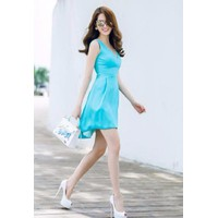 Đầm xoè xanh dễ thương Ngọc Trinh D250