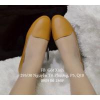Giày búp bê mọi trơn màu nâu da bò-GX232
