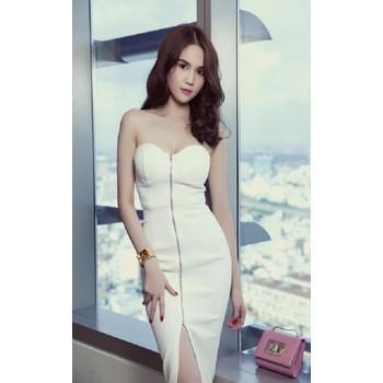 Đầm body cúp ngực trắng Ngọc Trinh
