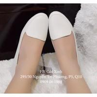 Giày búp bê mọi trơn màu trắng-GX231