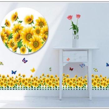 Decal dán tường Chân tường hoa hướng dương vàng 2