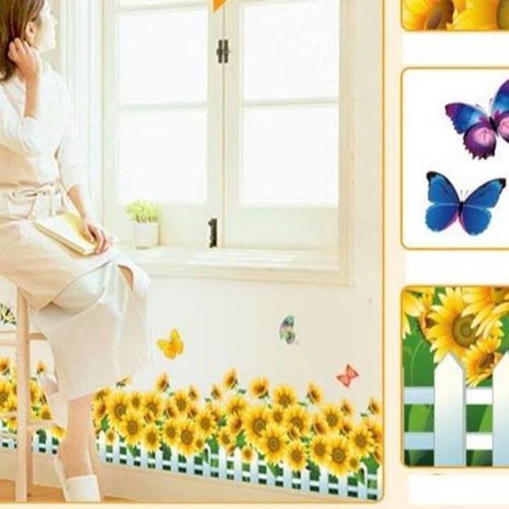 Decal dán tường Chân tường hoa hướng dương vàng 2 2