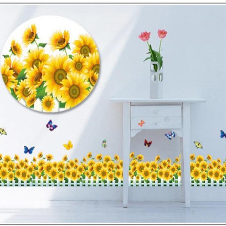 Decal dán tường Chân tường hoa hướng dương vàng 2 3