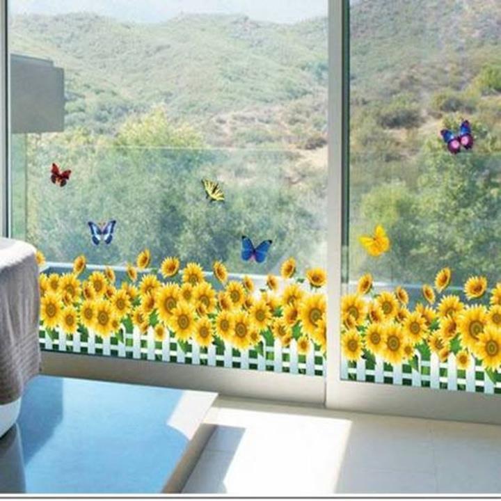 Decal dán tường Chân tường hoa hướng dương vàng 2 1