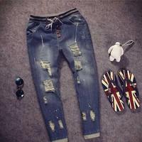 Quần jeans lưng thun rách Mã: ND0556