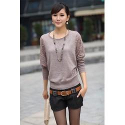 Áo len dệt kim nữ cánh dơi cổ tròn, tay phối ren hoa  thời trang-A2904